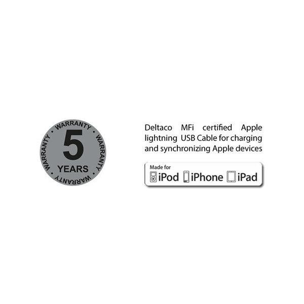 Universāls uzlādes un sinhronizācijas kabelis, 1m, micro USB, USB-C, Lightning DELTACO melns / IPLH-155