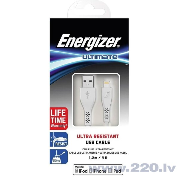 Energizer Ultimate Ultra Resistant Lightning Cable 1.2m (C41UBLIGWH4), Balts