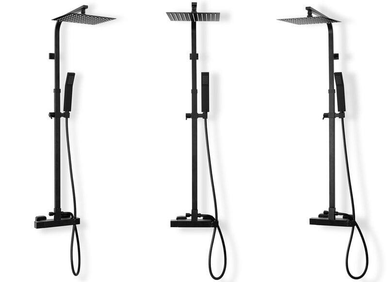 Dušas komplekts ar termostatu REA Milan Black Mat cena