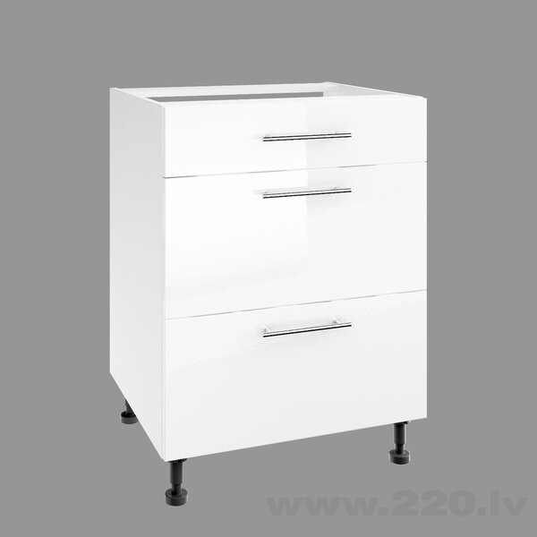 Virtuves skapītis Lupus Luna Gloss 3S 60 cm, balts cena
