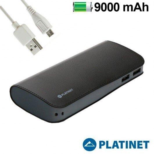 Platinet Ārējais akumulators 9000 mAh, 2.1A + micro USB vads, Melns internetā