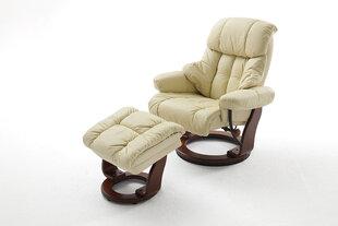 Krēsls ar pufu MC Akcent Calgary, krēmkrāsas/brūns cena un informācija | Krēsli viesistabai | 220.lv