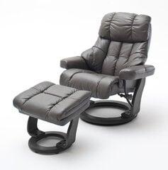 Atzveltnes krēsls ar pufu MC Akcent Calgary XXL, matēts brūns/melns cena un informācija | Krēsli viesistabai | 220.lv