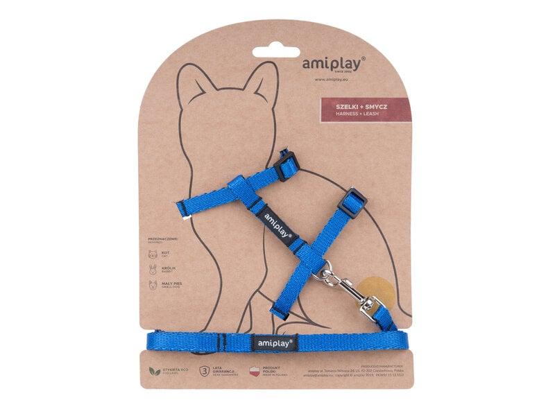 Amiplay komplekts kaķim Twist Blue M: neilona kaķu krūšu siksna ar pavadu