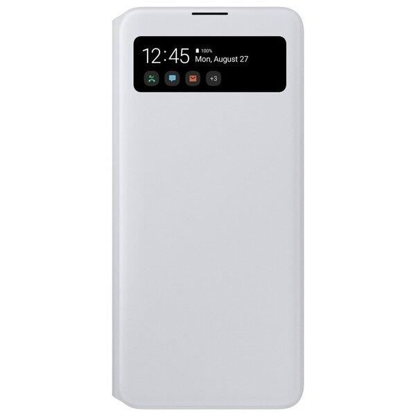 Samsung Galaxy A71 S View atverams maciņš ar mazā ekrāna aili , balts atsauksme