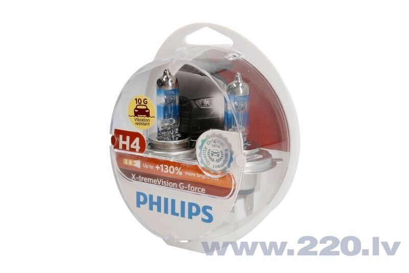 Philips H4 12V 60/55W +130% X-treme Vision G-Force spuldzes (2gab)