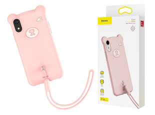 Baseus Bear Silicone Case Flexible Gel Cover with Wrist Strap for iPhone XR pink (WIAPIPH61-BE04) (Pink) cena un informācija | Maciņi, somiņas | 220.lv