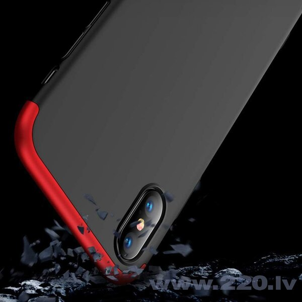GKK 360 Protection Case Front and Back Case Full Body Cover iPhone XS Max black-red (Black || Red) cena