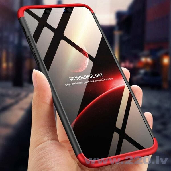 GKK 360 Protection Case Front and Back Case Full Body Cover iPhone XR black-red (logo hole) (Black || Red) internetā