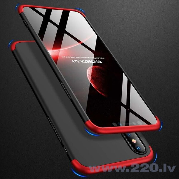 GKK 360 Protection Case Front and Back Case Full Body Cover iPhone XR black-red (logo hole) (Black || Red) lētāk