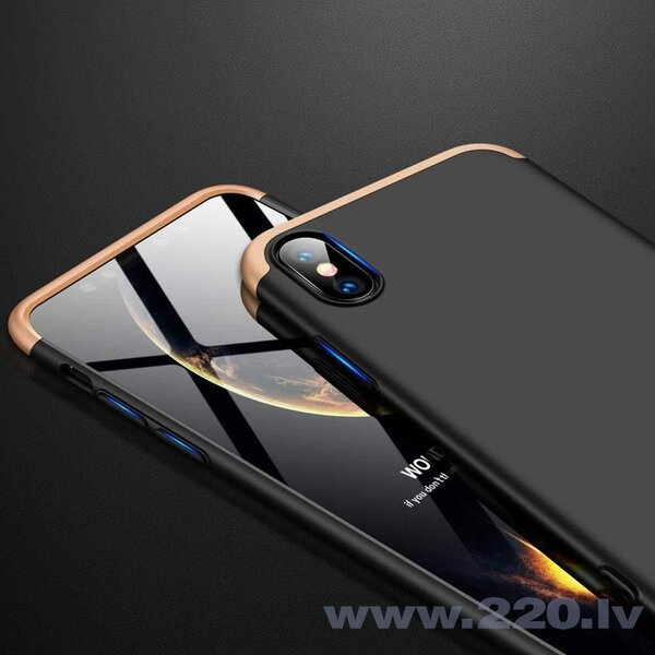 GKK 360 Protection Case Front and Back Case Full Body Cover iPhone XR black-gold (Black || Gold) lētāk