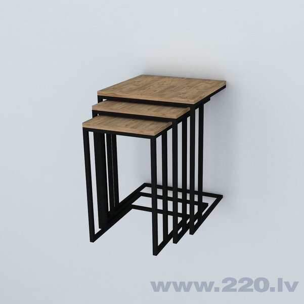 3-u kafijas galdiņu komplekts Pino, brūns/melns
