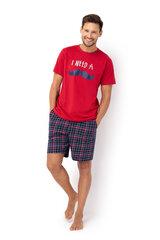 Vīriešu pidžama ar šortiem ENVIE Mustache Short (Sarkanā krāsā) cena un informācija | Vīriešu pidžama ar šortiem ENVIE Mustache Short (Sarkanā krāsā) | 220.lv