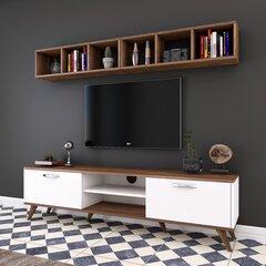 Sekcija Kalune Design M7, balta/tumši brūna cena un informācija | Sekcijas | 220.lv