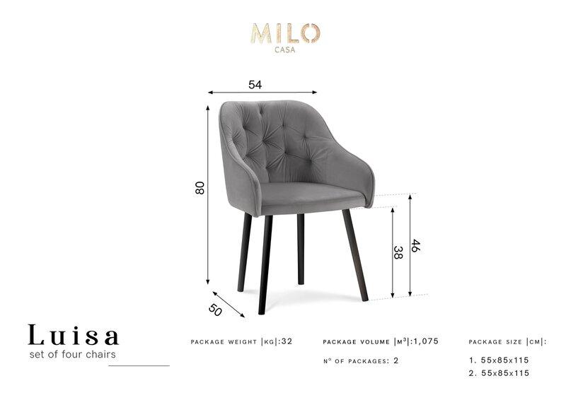4-u krēslu komplekts Milo Casa Luisa, melns