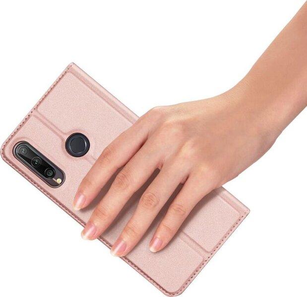 Dux Ducis Premium Magnet Case piemērots Huawei P40 Lite E, Rozā atsauksme