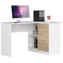 Письменный стол NORE B16, правый вариант, белый/цвета дуба цена и информация | Компьютерные, письменные столы | 220.lv