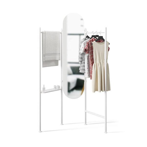 Spogulis ar tērauda pakaramo drēbēm Umbra Valla, balts