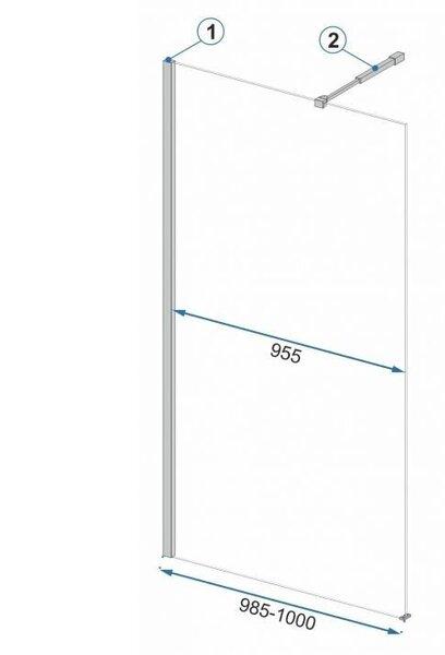 Dušas siena REA Aero black mat 90,100,110,120 cm atsauksme