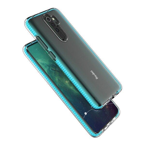 Spring Case clear TPU gela aizsargapvalks ar krāsainu rāmi paredzēts Xiaomi Redmi Note 8 Pro black (Melns) cena un informācija | Maciņi, somiņas | 220.lv