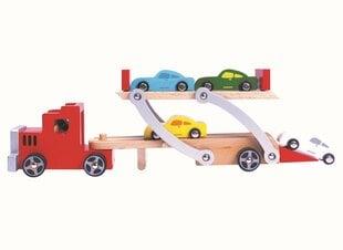 Rotaļu koka autopārvadātājs Bino, 9 d. cena un informācija | Rotaļu koka autopārvadātājs Bino, 9 d. | 220.lv