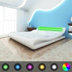 Gultas rāmis no mākslīgās ādas ar LED sloksni, 180 cm, izliektas formas, balts cena un informācija | Gultas | 220.lv
