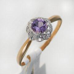 Zelta gredzens ar briljantu un ametistu 09TPZ500059 cena un informācija | Gredzeni | 220.lv