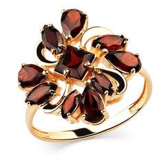 Zelta gredzens ar granātu 05ALM000122 cena un informācija | Gredzeni | 220.lv