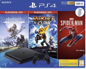Sony PlayStation 4 (PS4) Slim, 500GB + Horizon Zero Dawn + Ratchet & Clank + Spider Man cena un informācija | Sony PlayStation 4 (PS4) Slim, 500GB + Horizon Zero Dawn + Ratchet & Clank + Spider Man | 220.lv