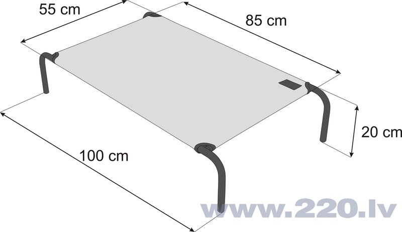 Hobbydog guļvieta Iron Beige XL, 100x55x20 cm