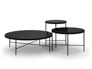 3-ju kafijas galdiņu komplekts Interieurs86 Orsay, melns cena un informācija | Žurnālgaldiņi | 220.lv