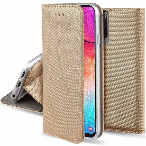 Fusion Magnet Book case grāmatveida maks Samsung A125 Galaxy A12 zeltains cena un informācija | Maciņi, somiņas | 220.lv