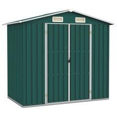 vidaXL dārza šķūnis, zaļš, 205x129x183 cm, cinkots tērauds cena un informācija | Mājiņas/novietnes malkai un instrumentiem | 220.lv