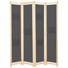 vidaXL 4-paneļu istabas aizslietnis, 160x170x4 cm, pelēks audums cena un informācija | Dekoratīvās starpsienas | 220.lv