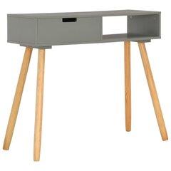 vidaXL konsoles galdiņš, 80x30x72 cm, priedes masīvkoks, pelēks cena un informācija | Konsoles galdiņi | 220.lv
