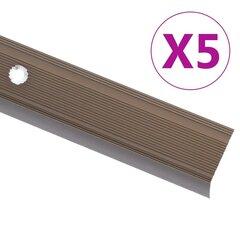 vidaXL kāpņu profili, 5 gab., L forma, 100 cm, brūns alumīnijs цена и информация | Складной стул-стремянка D60 StandardLine / алюминий/ 2x2 ступени | 220.lv