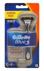 Skuveklis Gillette Blue3, 1 gab + 4 galviņas cena un informācija | Skuveklis Gillette Blue3, 1 gab + 4 galviņas | 220.lv