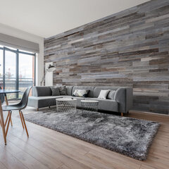 Sienu apdares paneļi - Wooden Wall Design - Silver cena un informācija | Griestu, sienu dekoru elementi | 220.lv